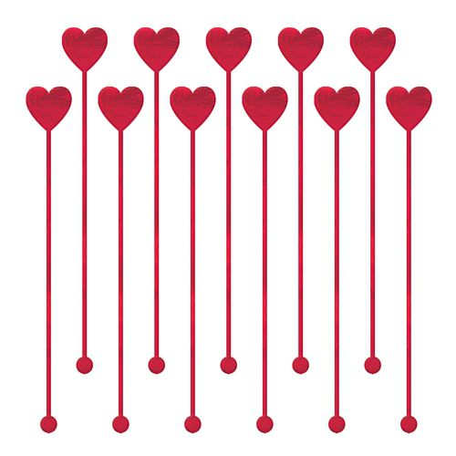 Heart Plastic Drink Stirrers - Pack of 12