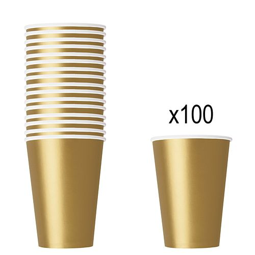 Gold Paper Cups - 266ml - Pack of 100