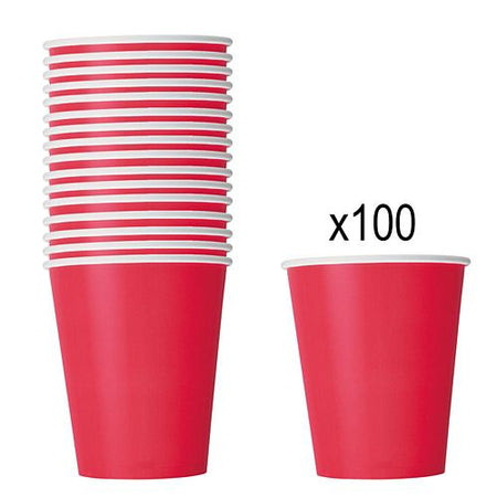 Red Paper Cups - 266ml - Pack of 100