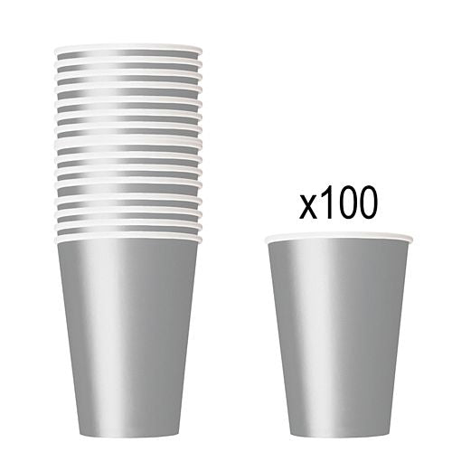 Silver Paper Cups - 266ml - Pack of 100