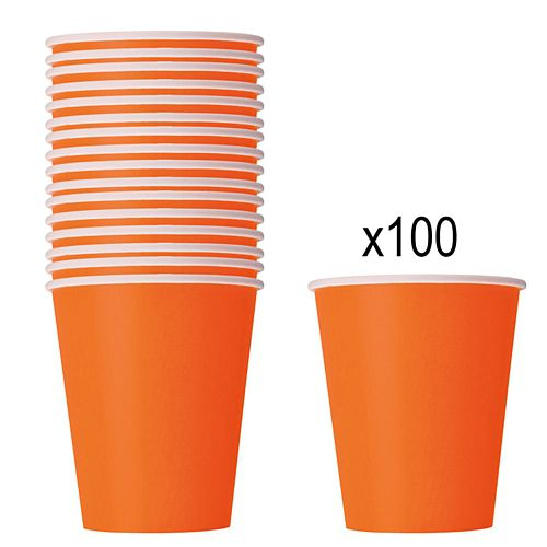 Orange Paper Cups - 266ml - Pack of 100