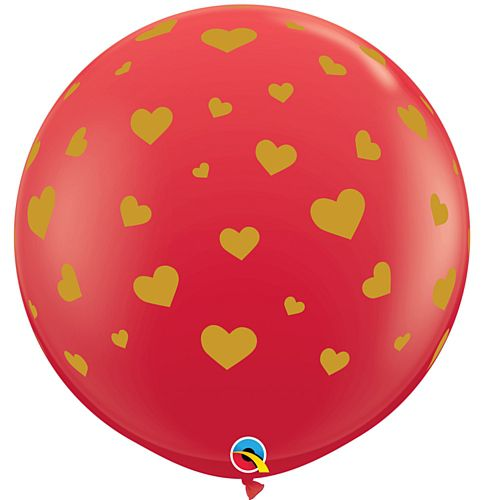 Red and Gold Hearts 3ft Latex Balloon - Pack of 2