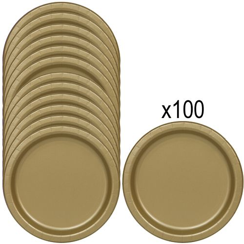 Gold Paper Plates - 23cm - Pack of 100