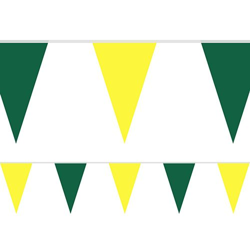 Green and Yellow Fabric Pennant Bunting - 24 Flags - 8m