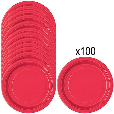 Red Paper Plates - 23cm - Pack of 100