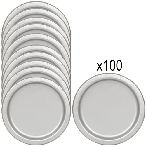 Silver Paper Plates - 23cm - Pack of 100