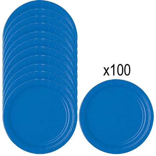 Blue Paper Plates - 23cm - Pack of 100