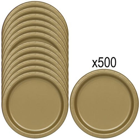 Gold Paper Plates - 23cm - Pack of 500
