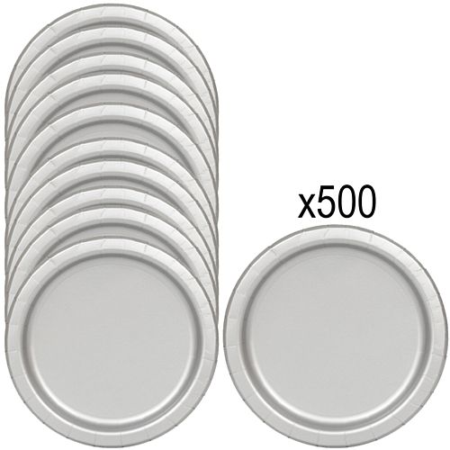 Silver Paper Plates - 23cm - Pack of 500