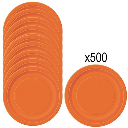 Orange Paper Plates - 23cm - Pack of 500