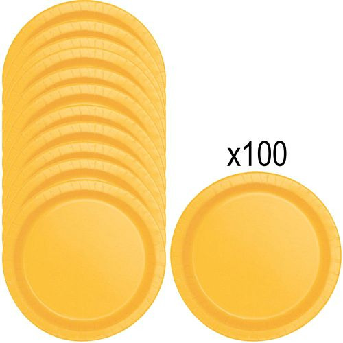 Golden Yellow Paper Plates - 23cm - Pack of 100