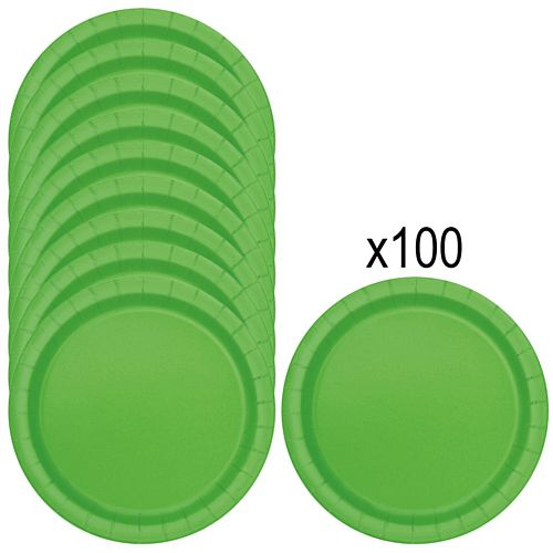 Lime Green Paper Plates - 23cm - Pack of 100