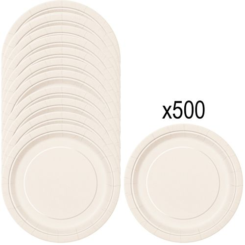 Vanilla Cream (Ivory) Paper Plates - 23cm - Pack of 500