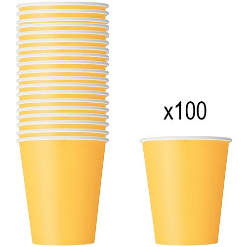 Yellow Paper Cups - 266ml - Pack of 100