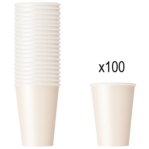 Vanilla Cream (Ivory) Paper Cups - 266ml - Pack of 100