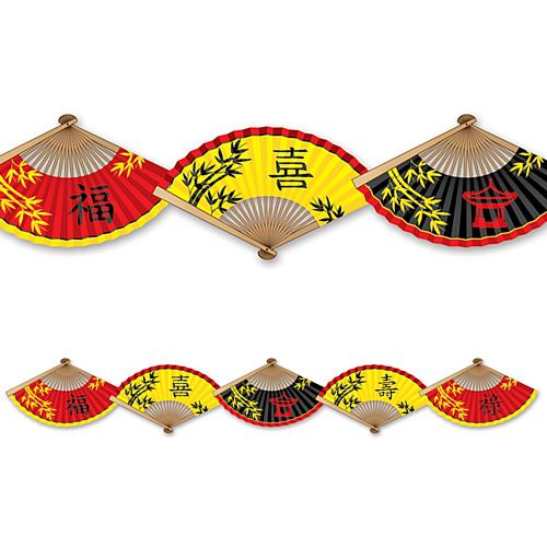 Chinese Paper Fan Garland Decoration - 1.5m