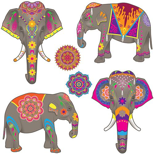 Elephant Cutouts - 40cm - Pack of 6