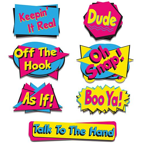 90's Phrase Cutouts - 50cm - Pack of 7