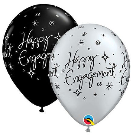 Click to view product details and reviews for Happy Engagement Black And Silver Latex Balloons 11 Pack Of 10.