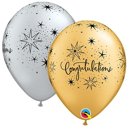 "Gold and Silver Congratulations Latex Balloons - 11"" - Pack of 10"