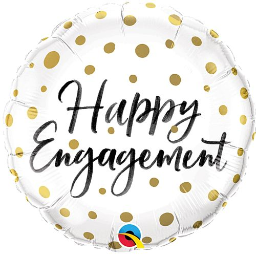 Happy Engagement Gold Dots Foil Balloon - 18""