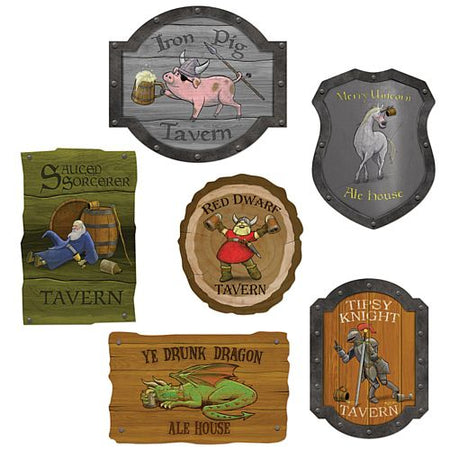 Medieval Tavern Sign Cutouts - 36cm - Pack of 6