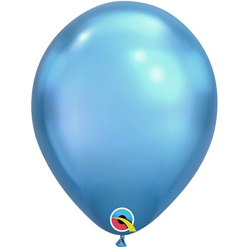 "Blue Chrome Metallic Latex Balloons - 11"" - Pack of 10"