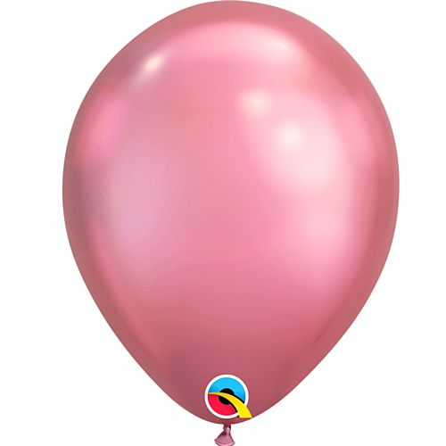 "Mauve Pink Chrome Metallic Latex Balloons - 11"" - Pack of 10"