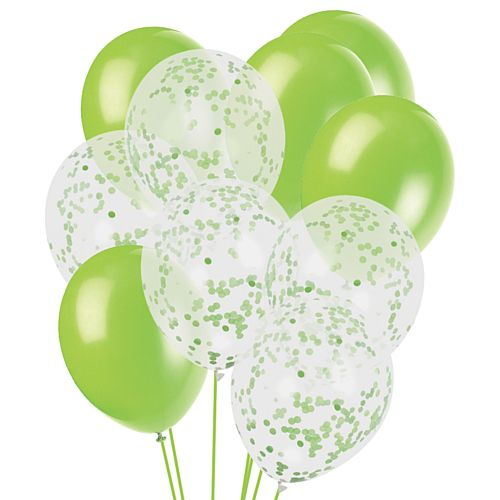 Green Confetti Balloon Mix - Pack of 16