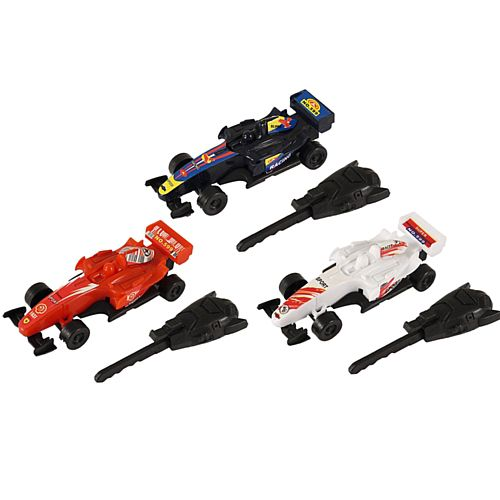 Toy Racing Car With Key Spring - Assorted Colours - 9cm