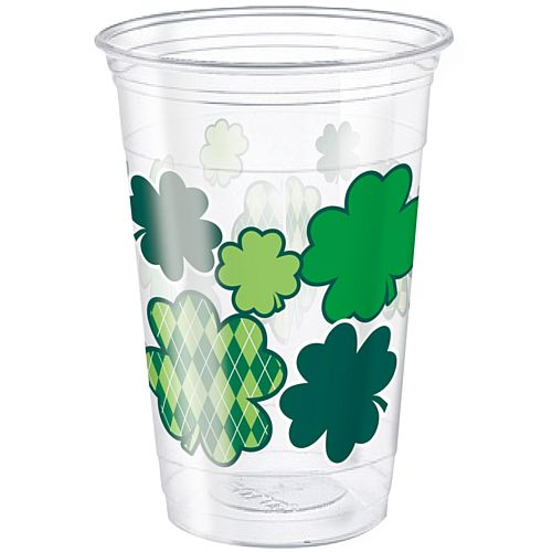 St. Patrick's Clover Plastic Cups - 455ml - Pack of 8