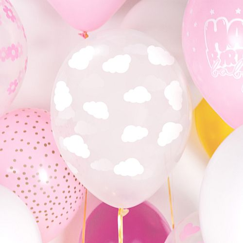"Clear Clouds Latex Balloons - 11"" - Pack of 6"