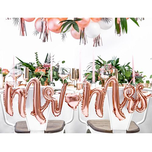 Mr and Mrs Rose Gold Foil Balloon - 69cm x 125cm