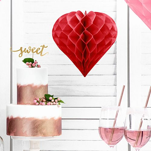 Red Honeycomb Heart Tissue Decoration - 20cm