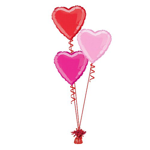 Valentine's Hearts Foil Balloon Bunch - Uninflated