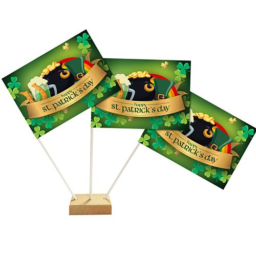 "St. Patrick's Day Table Flags 6"" on 10"" Pole"