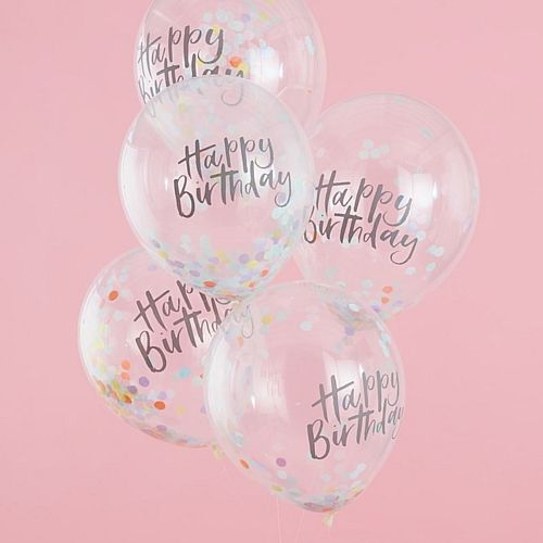 "Happy Birthday Confetti Balloons - 12"" - Pastel Party - Pack of 5"