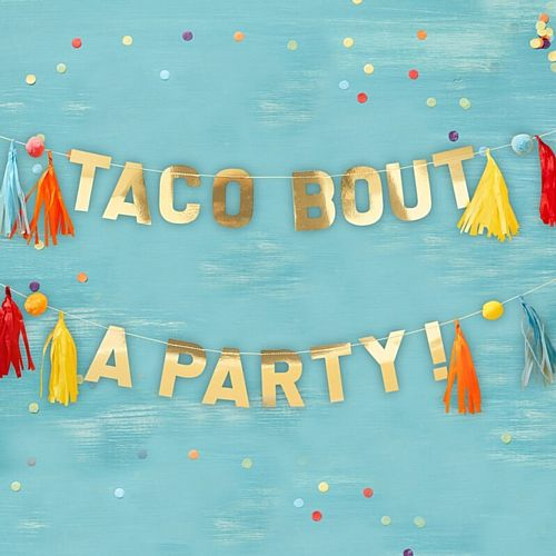 Gold 'Taco Bout a Party' Pom Pom and Tassel Bunting - 2 x 1.5m
