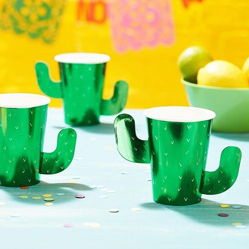 Green Foiled Cactus Cups - Pack of 8