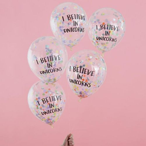 "I Believe in Unicorns Confetti Balloons - 12"" - Pack of 5"