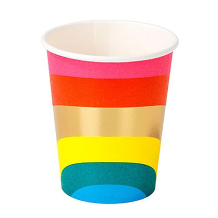Rainbow Gold Foil Paper Party Cups - 9oz - Pack of 12