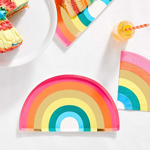 Rainbow and Gold Foiled Paper Party Plates - 23cm - Pack of 12