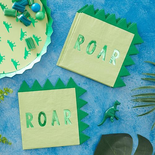 Roarsome Dinosaur Paper Party Napkins - 16cm - Pack of 16