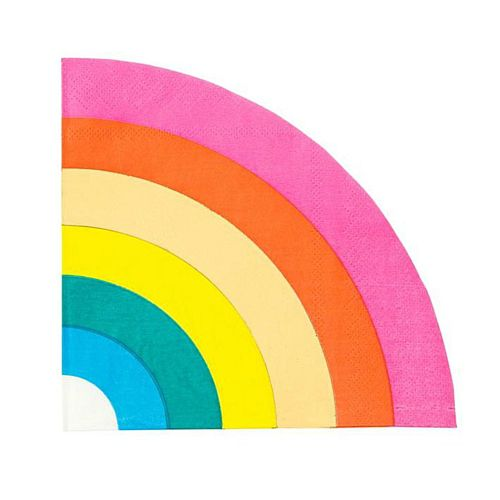 Rainbow and Gold Foiled Paper Party Napkins - 29cm - Pack of 16