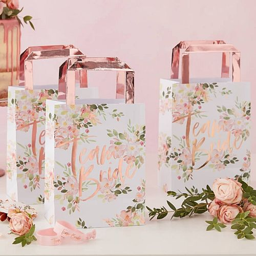 Floral Team Bride Party Bags - 24cm x 35cm - Pack of 5