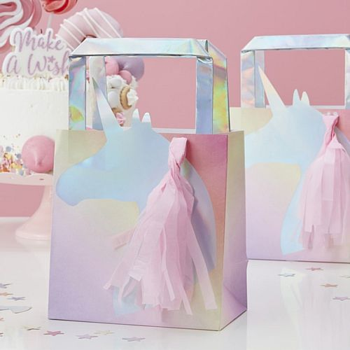 Iridescent Foiled Unicorn Tassel Party Bag - 26cm - Pack of 5