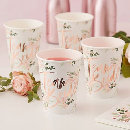 Team Bride Floral Paper Cups - Pack of 8