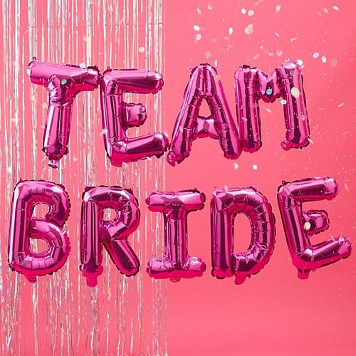 Hot Pink Team Bride Balloon Bunting - 16""