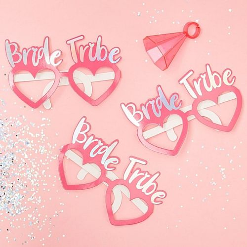Pink Bride Tribe Hen Party Fun Glasses - Pack of 8