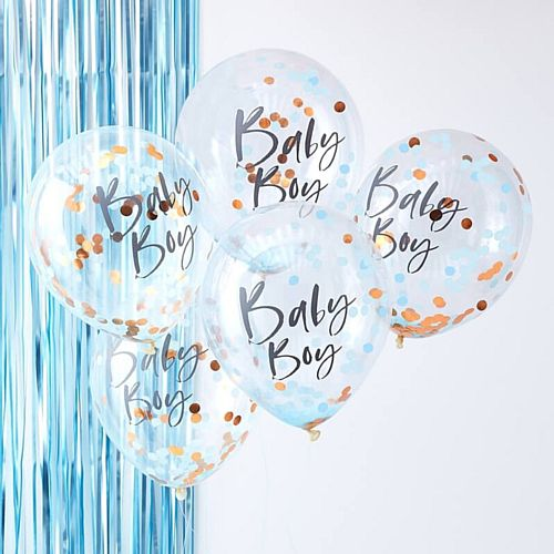 "Blue Baby Boy Confetti Balloons - 12"" - Pack of 5"
